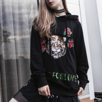 Fashion Casual Long Sleeve Tiger Roses Embroider Sequins Hoodie Sweater
