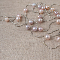 Necklace freshwater pearl silver chain long beaded layering necklace Pastel Modern Pink Blush Bride Bridal Bridesmaid Beach wedding Bohemian