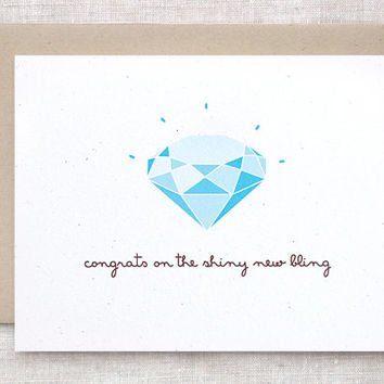 Funny Engagement Card - Congratulations Diamond, Shiny New Bling, Commitment, It's Official - Recycled Card