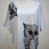 Pretty Owl : Owl Animal Art Fashion Bat Sleeves Soft Gray Women T-Shirt Short Bat Sleeves T-Shirt Screen Print Cotton