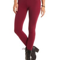 Wine Ankle Length Stretch Cotton Leggings by Charlotte Russe