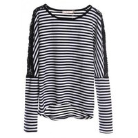 Cotton White and Black Stripe Lace Shoulder Round Neck Women One Size T-shirt @H4133