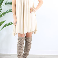 Kind Hearted Natural Solid Shift Dress