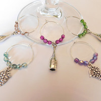 Vineyard Inspired Wine Charm Set, Wedding Gift, Party Favors, Gift For Her, Set of 5 Wine Stem Charms