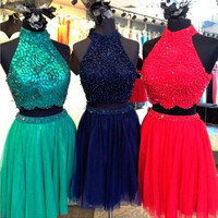 High Neck Homecoming Dresses, Two Piece Homecoming Dresses