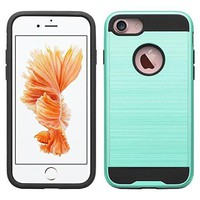 For Apple iPhone 8 Plus Case, Slim Hybrid Dual Layer Armor Case for iPhone 8 Plus - Brush Teal