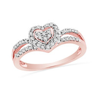1/3 CT. T.W. Diamond Heart Split Shank Ring in 10K Rose Gold