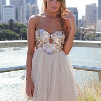 Strapless Dress with Sequin Bodice and Tulle Skirt