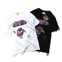 Men's Fashion Cartoons Cotton Round-neck Casual Couple Short Sleeve T-shirts [10272574279]