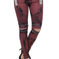 Women's Color Bleached Ripped Zipped Biker Joggers