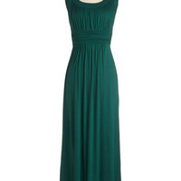 ModCloth Long Sleeveless Maxi First Classic Dress in Forest