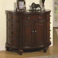 Antique walnut finish wood half moon shaped hall console with storage drawers
