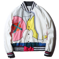 2017 brand autumn Mira Mikati x Kaws women men unisex baseball jacket designer colourful print short style bomber jacket coat