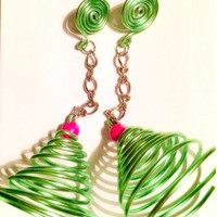 """Hand made bendable wires earrings, island inpired green goddess chandelier, """"MON""""eco chic for women life is a runway"""