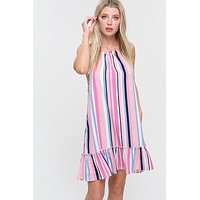 Striped Halter Dress - Pink