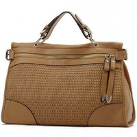 Casual Chic Weave Bag Large Brown Leather Tote. Satchel. Messenger Bag | GlamUp - Bags & Purses on ArtFire