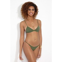 Sienna Triangle Bralette Bikini Top - Matcha Green Latte