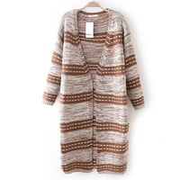 V Neck Loose Striped Knit Cardigan Outerwear
