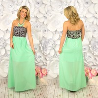 Neon Navajo Maxi Dress in Mint