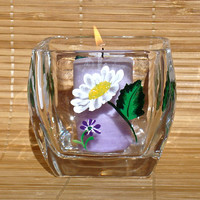 Hand Painted Candle Holder With White Daisies