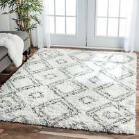 Area Rugs 8' X 10' White Carpet Flooring Rag Floor Decor Shag Modern Room Rug