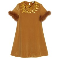 Girls Gold Velour Dress with Fur Sleeves