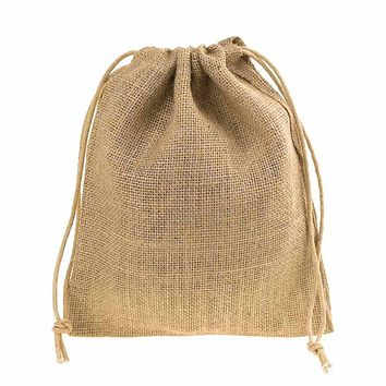 Burlap Favor Bags with Drawstrings, 12-Piece, 8-Inch x 10-Inch