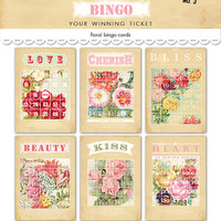 "Digital pastel flowered bingo cards / Valentine ephemera / 5"" by 7"" and 4"" by 6"" and 3"" by 4.2"" / downloadable, printable"