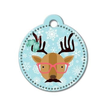 Reindeer with Glasses Holiday Dog Tag