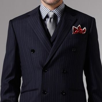 MIDNIGHT CHALK STRIPE THREE-PIECE SUIT