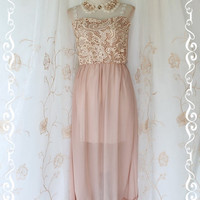 Lady And Floral  Maxi Dress Light Beige by LovelyMelodyClothing