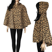 Hooded Leopard Poncho Soft Fleece Shawl Boho Hipster Clothing 80s 90s Made in Seattle One Size Fits Most