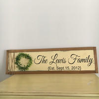 Rustic home decor home sign with wreath farmhouse decor farmhouse sign custom wood signs wedding signs hand painted signs wedding gift