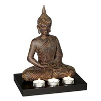 Sitting Buddha 3-Candle Tealight Holder - #69940 | LampsPlus.com