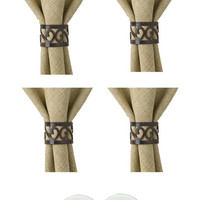 Park Design Set of 6 Scroll Napkin Rings with 6-Pack of Tea Candles