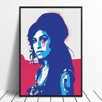 Amy Winehouse Music Poster Hip Hop Rap Music Band Star Poster Wall Art Painting Room Home Decor Canvas Print|Painting & Calligraphy