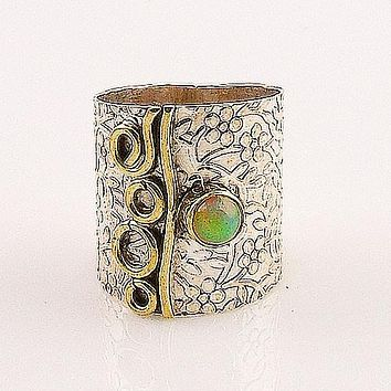 Ethiopian Opal Two Tone Wide Band Ring