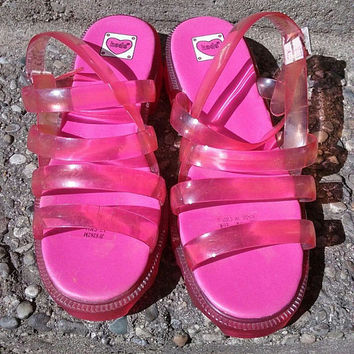 RARE VTG 90s Keds pink translucent Jelly sandals clear flatform sz 5 Kawaii rave