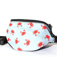Crabs on blue fabric - Cute Fanny Pack - Hip Waist Bag for travel, sport, and hiking