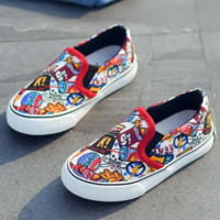 Canvas Sneakers Slip On Flats Kids Comic Shoes