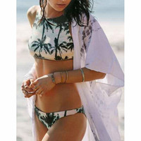 Fashion Coconut Tree Pattern Print Swimsuit Bikini