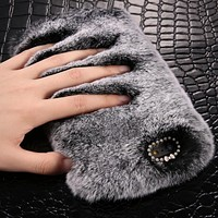 Faux Rabbit Fur PC Phone Cases for iphone XSmax XS XR 8 7 6 6S plus  Deluxe Plush Furry Cover For iPhone X 5 5S SE case Luxury