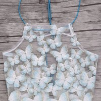 Backless Butterfly Embroidery Spaghetti Straps Crop Top