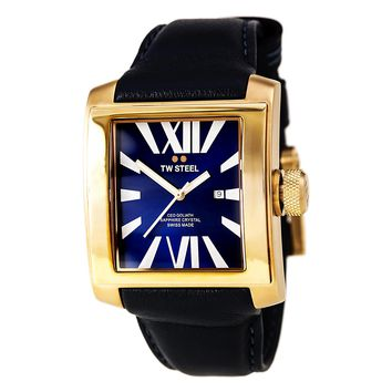 TW Steel CE3017 Unisex CEO Goliath Blue Dial Rose Gold Steel Blue Leather Strap Swiss Watch