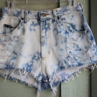 Bleach splattered high waisted shorts by shortsandseashells