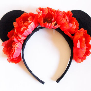 Red Flower Minnie Mouse Ears