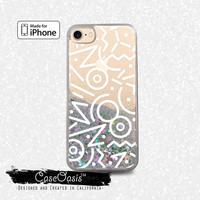 90's Zig Zag Pattern Retro Art White Liquid Glitter Sparkle Case for iPhone 6 and 6s iPhone 6 Plus and 6s Plus iPhone 7 and iPhone 7 Plus