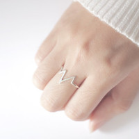 Heartbeat Ring, Silver Heartbeat Ring, Pulse Ring, Ring Stack, Simple Ring, Stacking Ring, Dainty Ring, Silver Ring, Stacking Rings