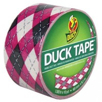 Duck Brand 280977 Printed Duct Tape, Pink Argyle, 1.88 Inches x 10 Yards, Single Roll