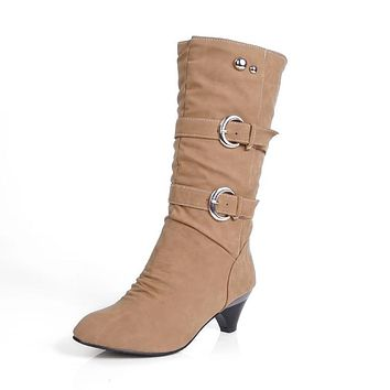 Buckle Mid Calf Boots for Women 8087